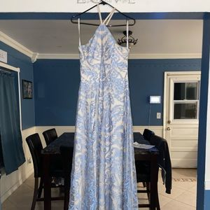 Periwinkle and Nude Formal Dress